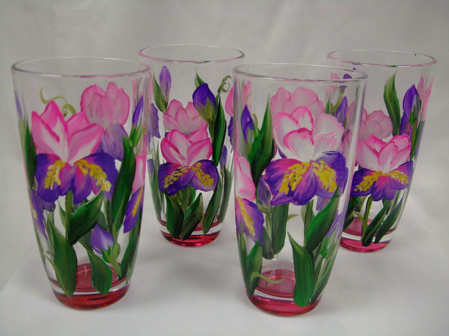 Hand painted pink and purple iris design by 800chestnutstreet for Hand painted drinking glasses