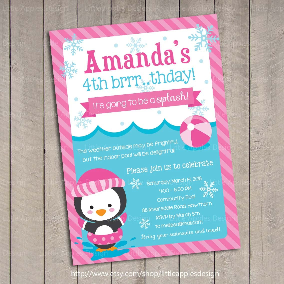 winter pool invitation    winter pool party by dreamyduck on etsy