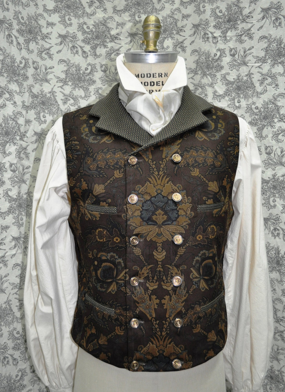 Men's 1800's Style Double Breasted Victorian/Steampunk Vest---Hand Made/Completely Custom....(available in chest sizes 30-48 inches)