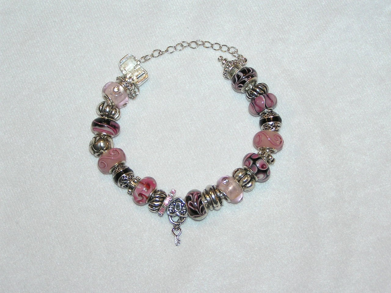 pandora style bracelet pink and black by