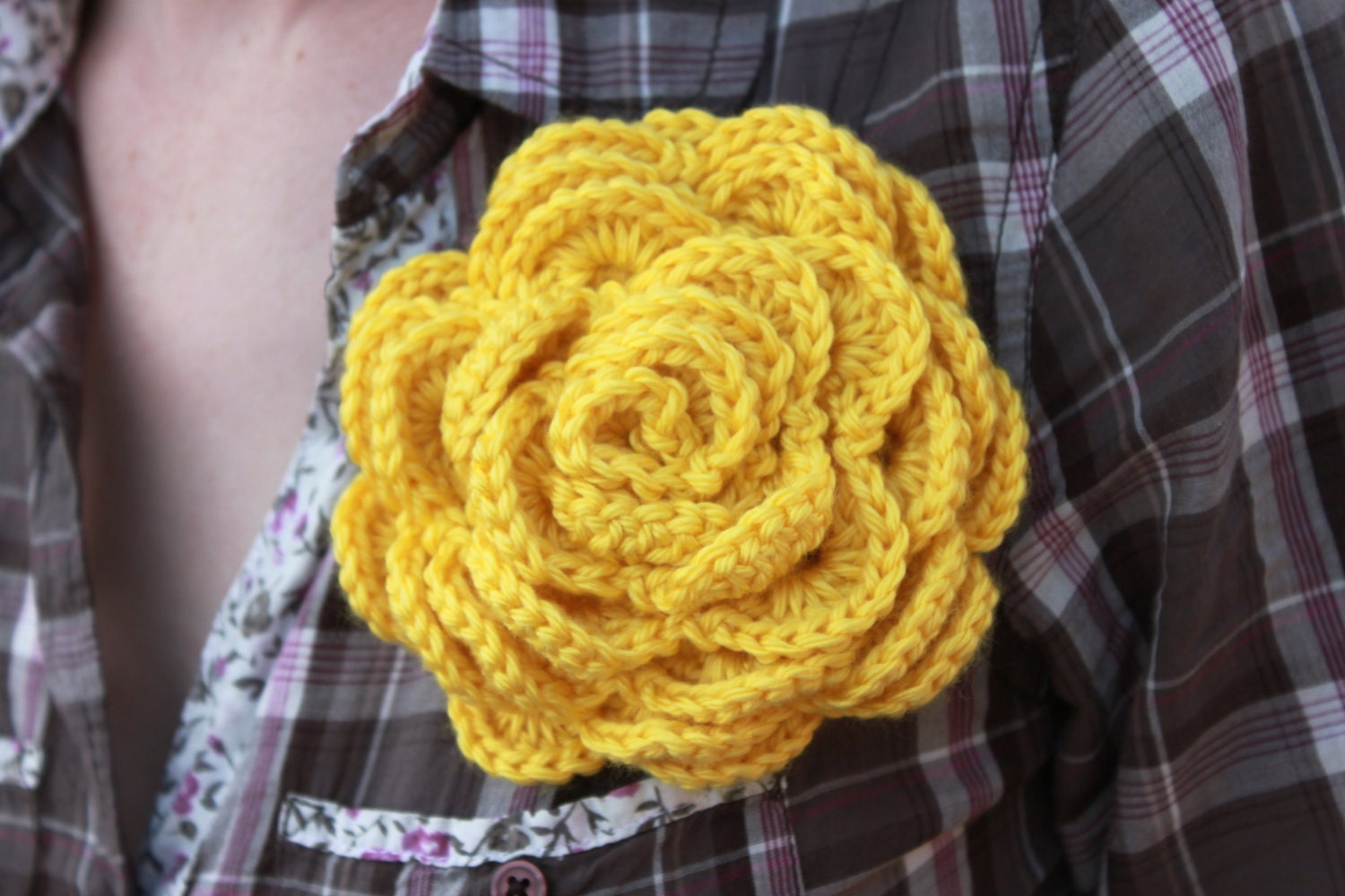 Large Crochet Rose Pin / Crochet Flower Pin / Crochet Brooch