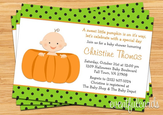 halloween pumpkin baby shower invitation boy or girl printable by