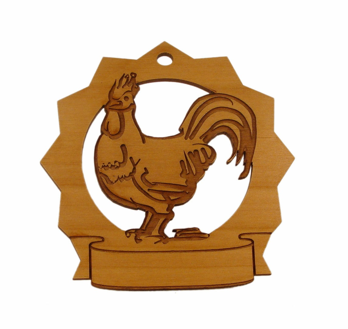 Rooster Personalized Ornament - gclasergraphics