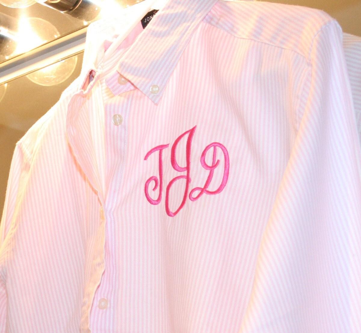 oversized mens shirt monogram pink stripe oxford by shopmemento