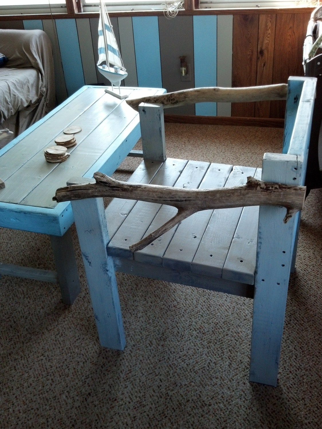 Custom chair made with Drift wood arm rests. - HRCCustomsLLC