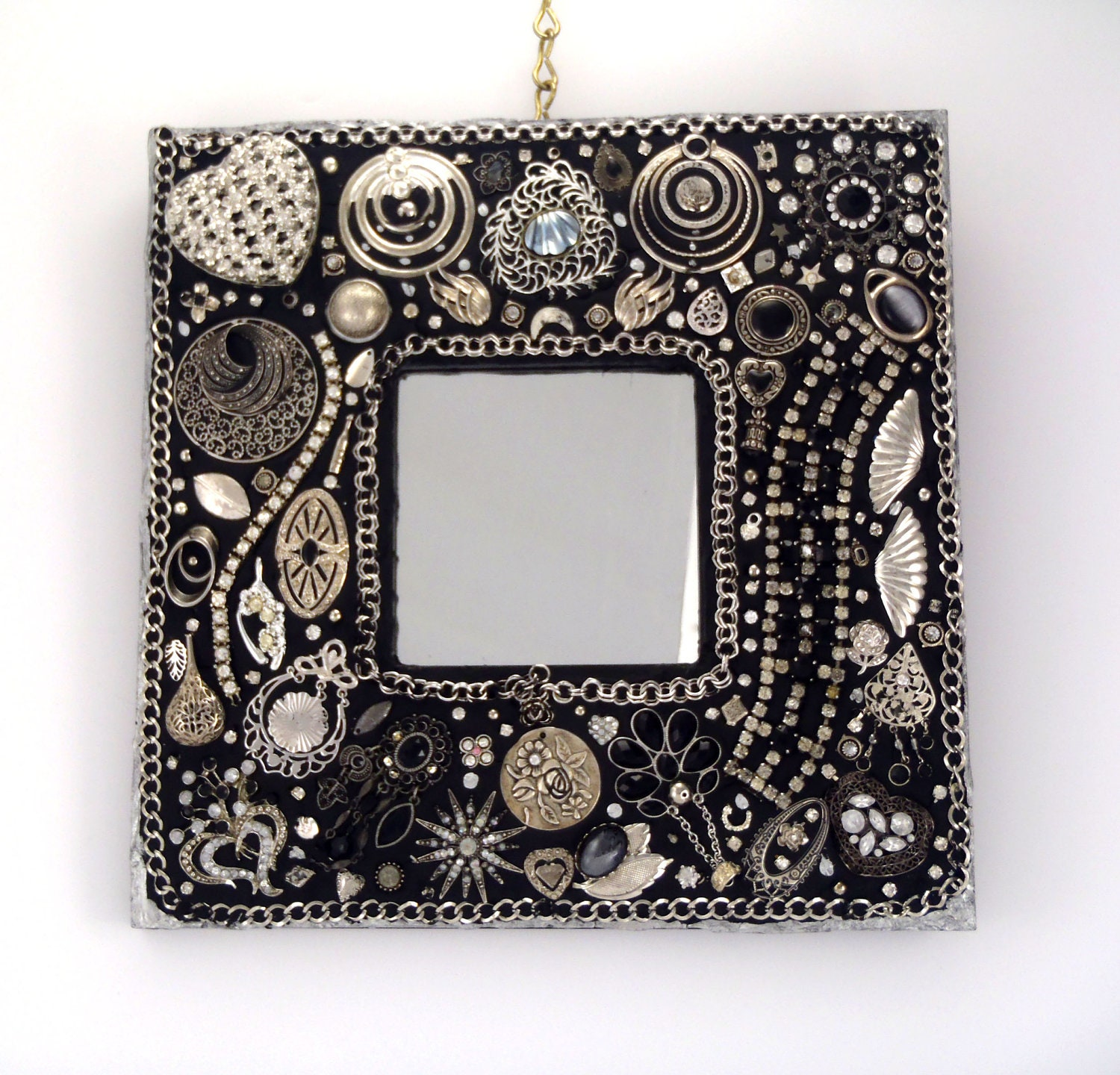 Vintage Jeweled Mosaic Mirror Black and Silver OOAK - Nostalgianmore