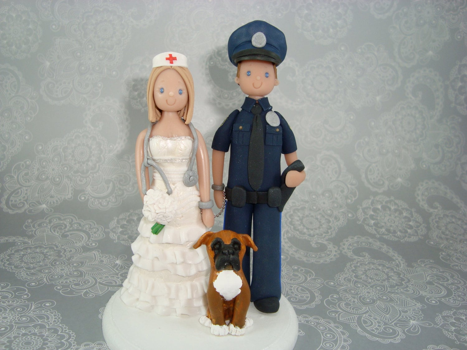 Police Officer Amp Nurse Costomized Wedding Cake Topper By Mudcards
