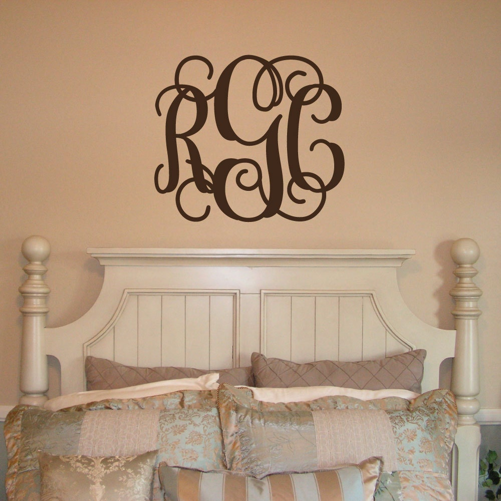 Wall Decor Decals Letters : Xl monogram decal letter by livelylettering