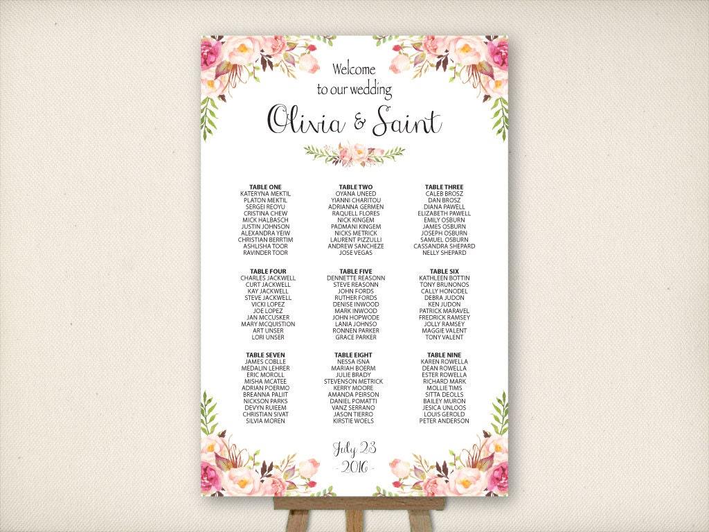 Cheap seating chart wedding