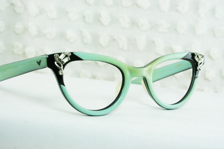 I Green Eyeglass Frames : 50s Cat Eye Glasses 1960s Rhinestone Eyeglasses by DIAeyewear