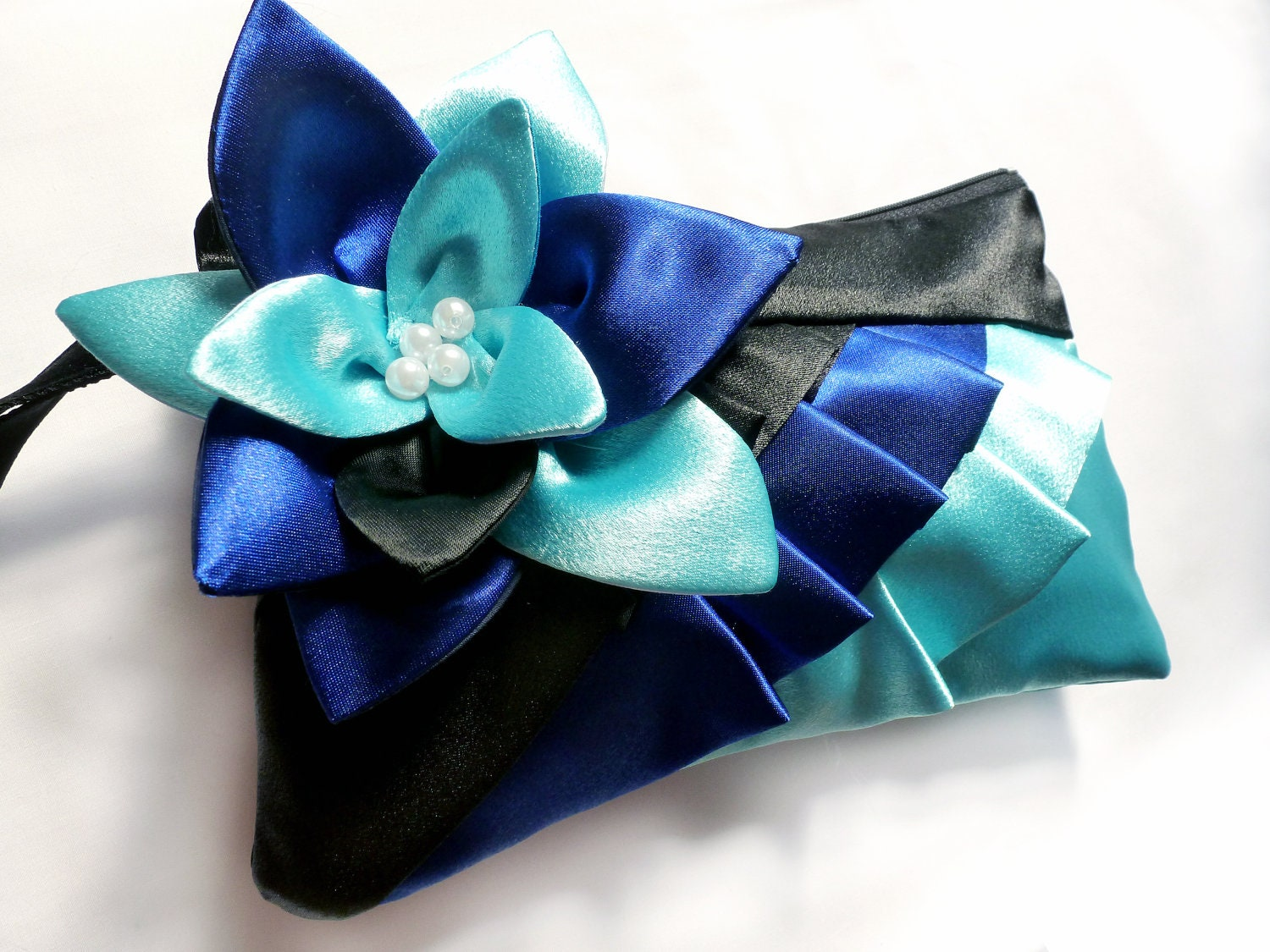 Black Blue and Turquoise diagonal satin ruffle wristlet with flower - handmadefun