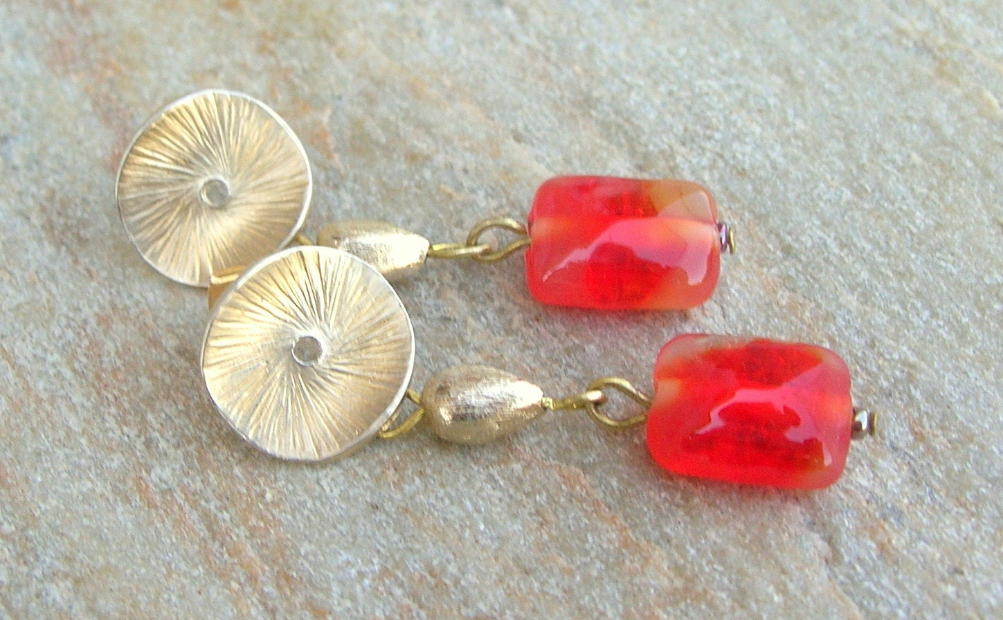 Lampwork Earrings Gold Spark Valentine Color Handmade Jewelry - CandanImrak