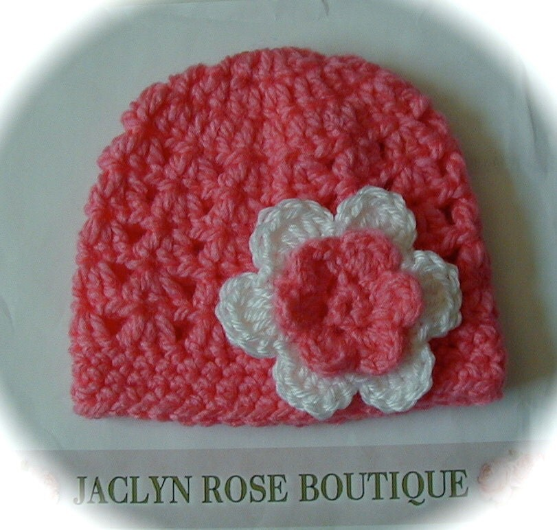 Charisma Yarn Baby Blanket: CORAL Colored Crochet Baby Beanie Hat By JACLYNROSEBOUTIQUE