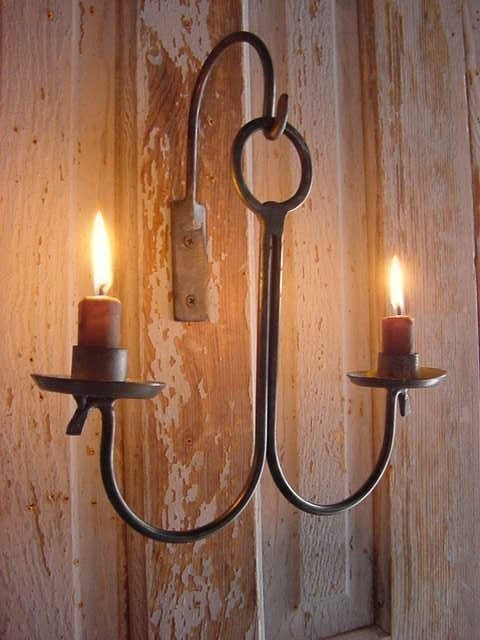 Wall Primitive Early Metal Lighting Hanging Candle Holder Lighting Handmade Forged by Blacksmith