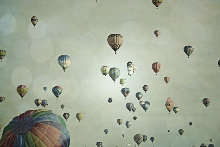 Hot Air Balloons Photography Print 11x14 Fine Art Whimsical Dreamy Sky Nursery Landscape Photography Print. - LullabyWorld
