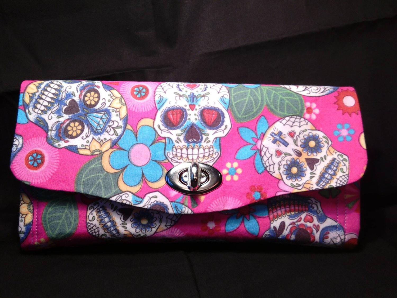 Gothic skull wallet handmade wallet skeleton key wallet clutch wallet necessary clutch wallet Gothic wallet twist or magnetic lock