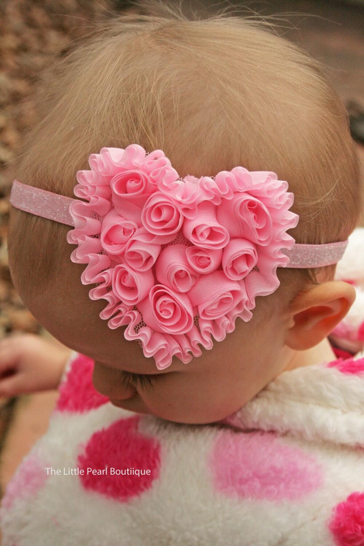 Valentine's Bow - Baby Girl - Baby Girl Headband - Valentine's Headband - Heart Headband - Pink Headband - Baby Headband - Glitter Headband