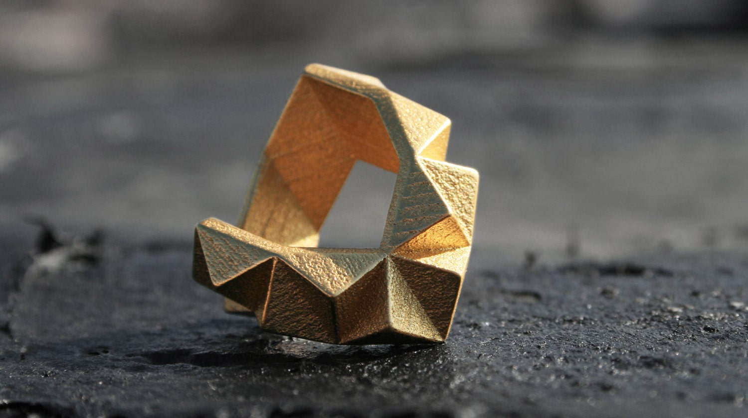 KINETIC - Yellow gold faceted modern geometric 3D printed chunky ring - ButterscotchofBK