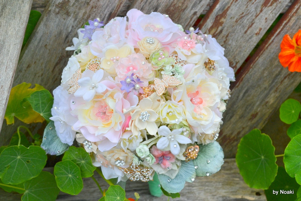 Softest Spring mint and blush handmade flower brooch bouquet -- deposit on a made-to-order wedding bouquet - Noaki
