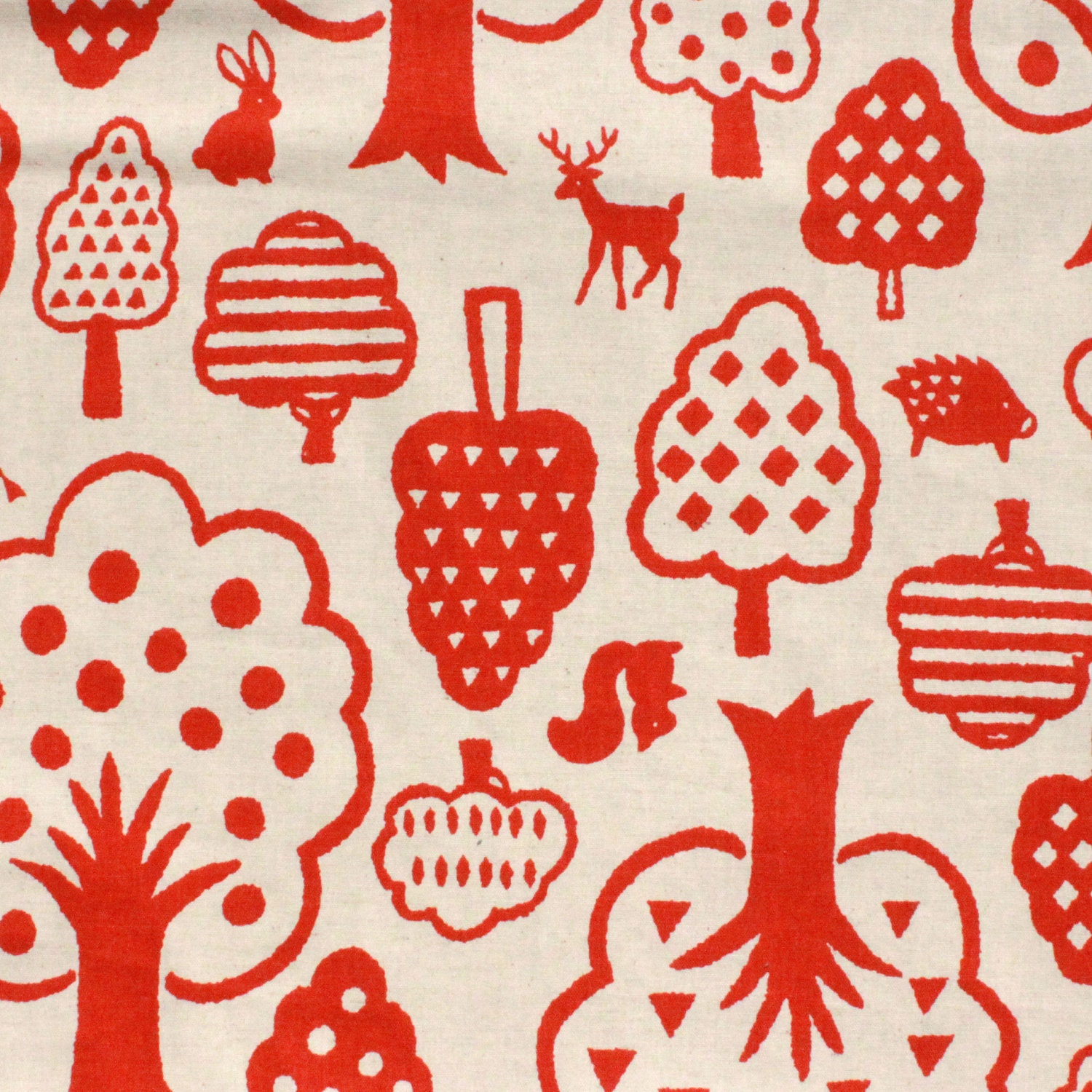 Kokka Woodland Wonderland in Tomato on Natural Linen Japanese Textile - FABITAT