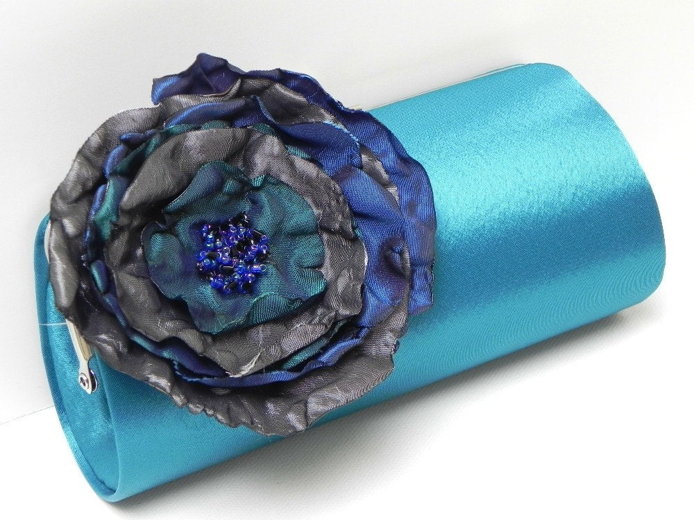 Turquoise Teal Bridal Clutch or Bridesmaid Clutch with a Large Gray Royal