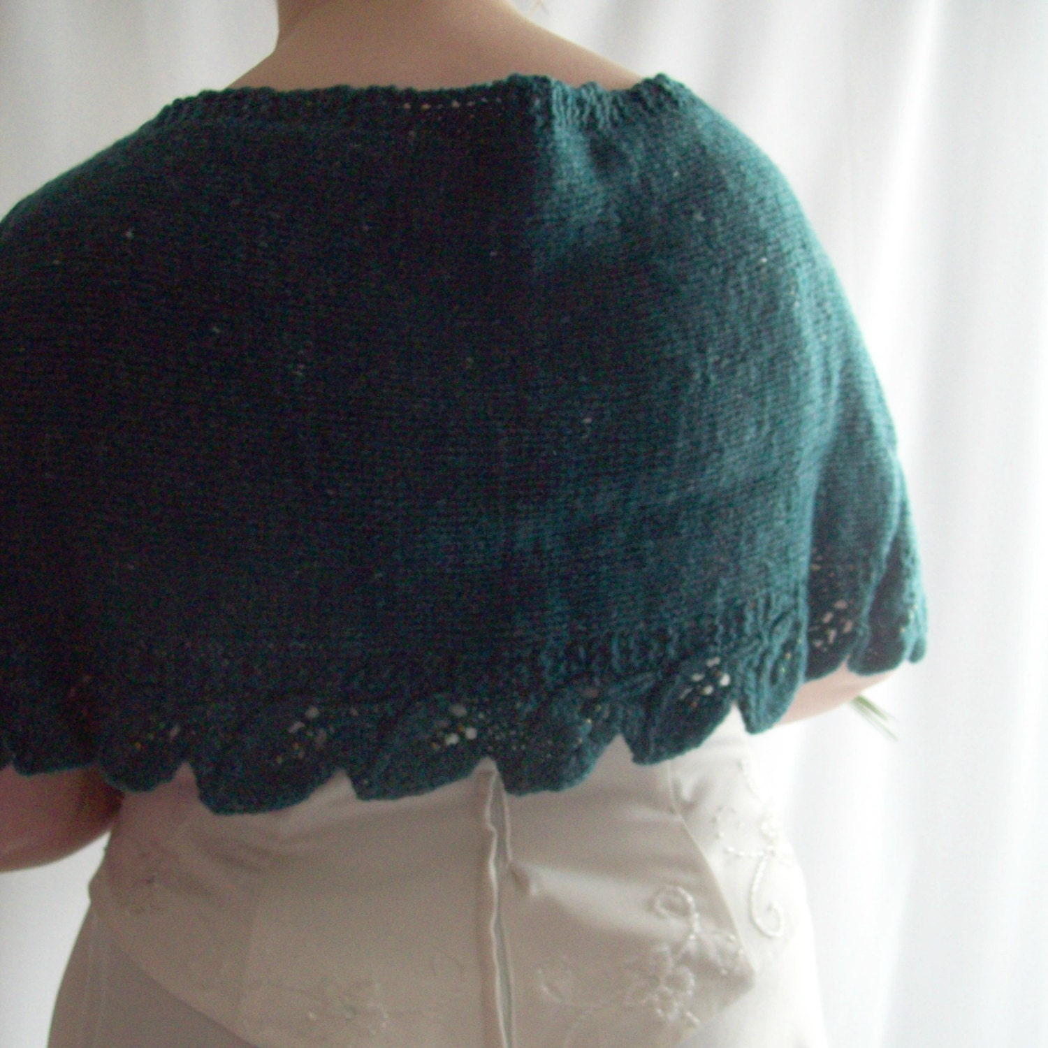 Knit Bridal Shawl Teal Wedding Knit Wool Shawl Beaded Shawl Knit Wrap Evening Shawl Evening Wrap Gift for Her Gift for Mum