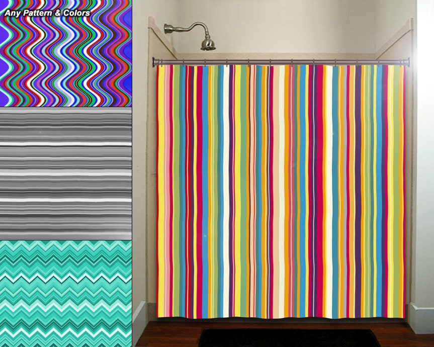 Any Color Stripe Wave Chevron Shower Curtain By TablishedWorks