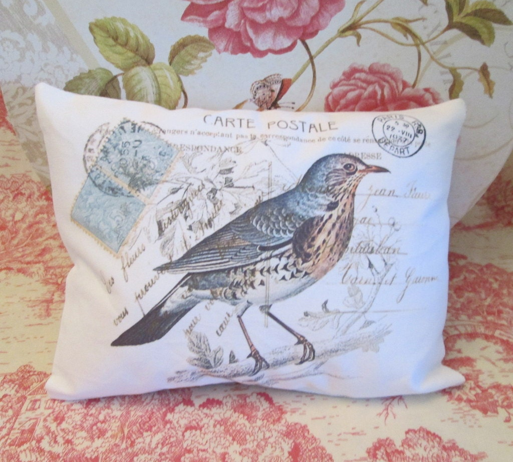 french bird carte postale small accent pillow home by cottagemode. Black Bedroom Furniture Sets. Home Design Ideas