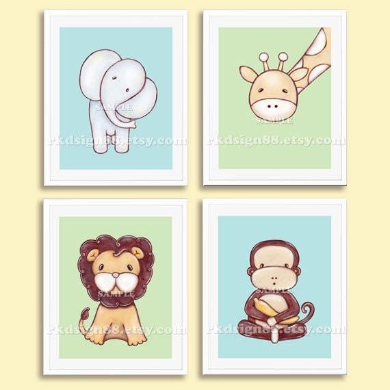 Nursery art prints baby boy nursery decor safari by rkdsign88 - Wall decor for baby boy ...