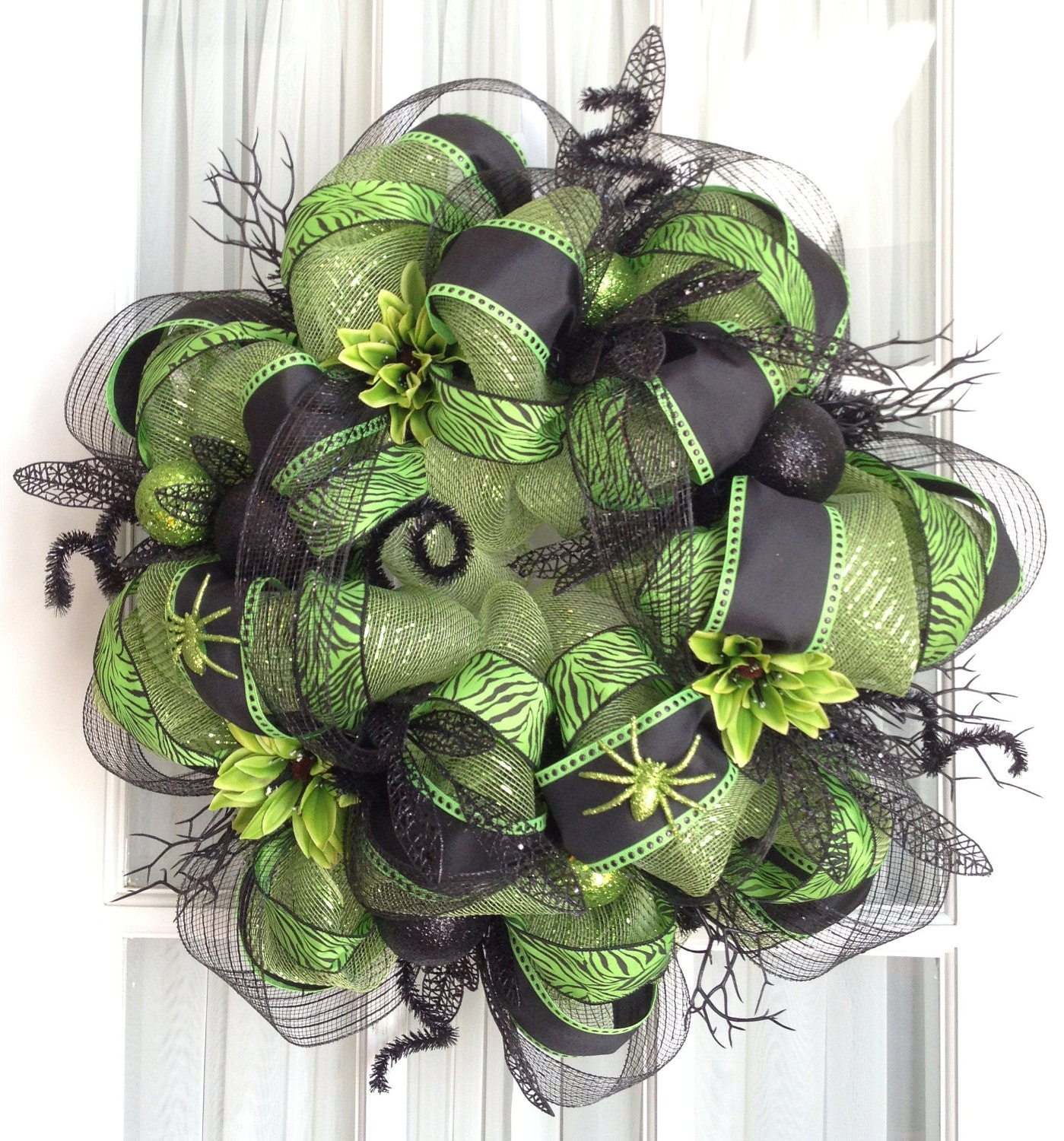 FuNkY HaLlOwEeN Deco Mesh Wreath Lime By SouthernCharmWreaths