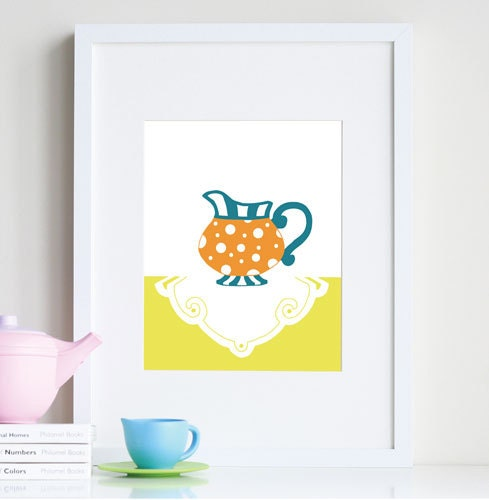 Girl nursery art, tea party print - customizable colors