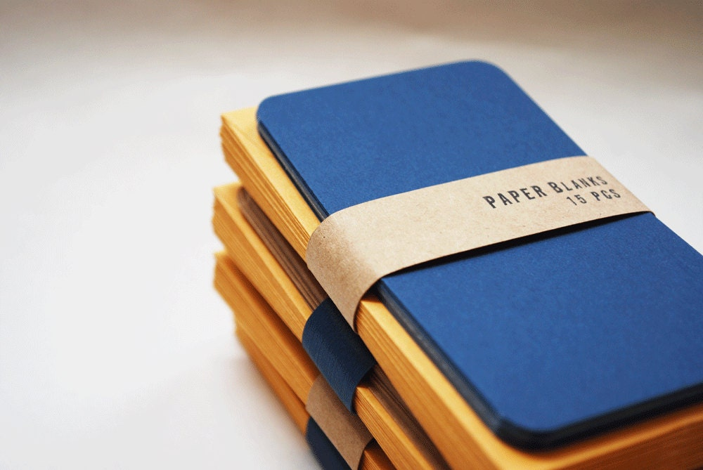 Navy Two Toned Blue and Mustard Cards - PAPERBlanks