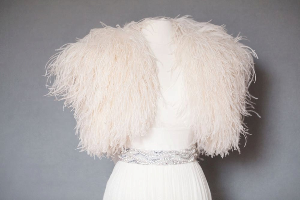 Ostrich Feather Shrug Jacket
