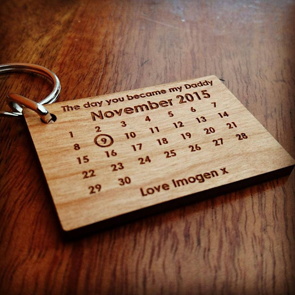 The Day You Became My Daddy Keyring  My Dad Since Keyring Wooden Fathers Day Keyring Gift