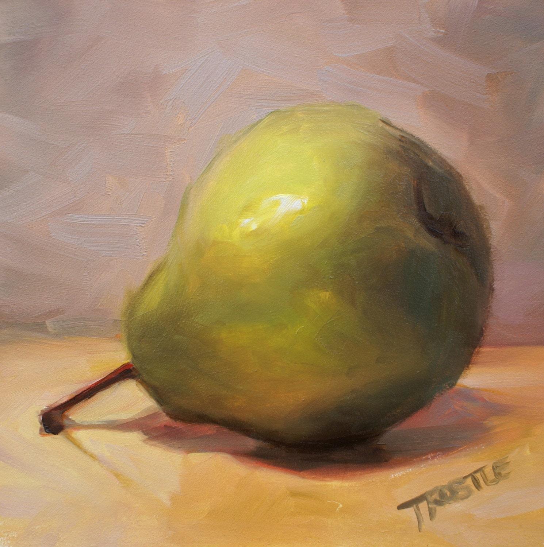 Art Original Oil Painting Fruit Green