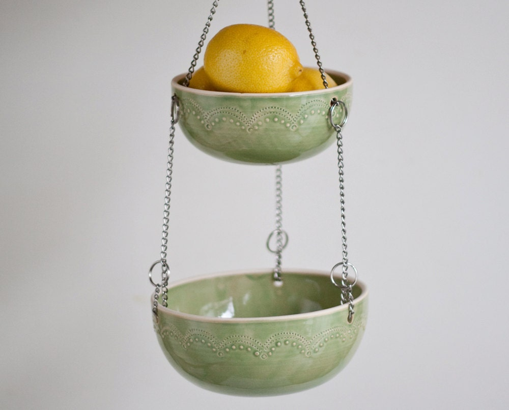 Handmade Hanging Fruit Basket : Hanging fruit basket set of green by jeanettezeis on etsy