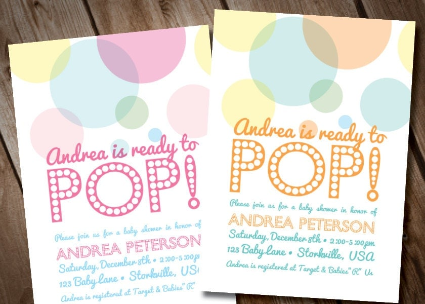 diy digital about to pop baby shower invitation by loralangdesigns