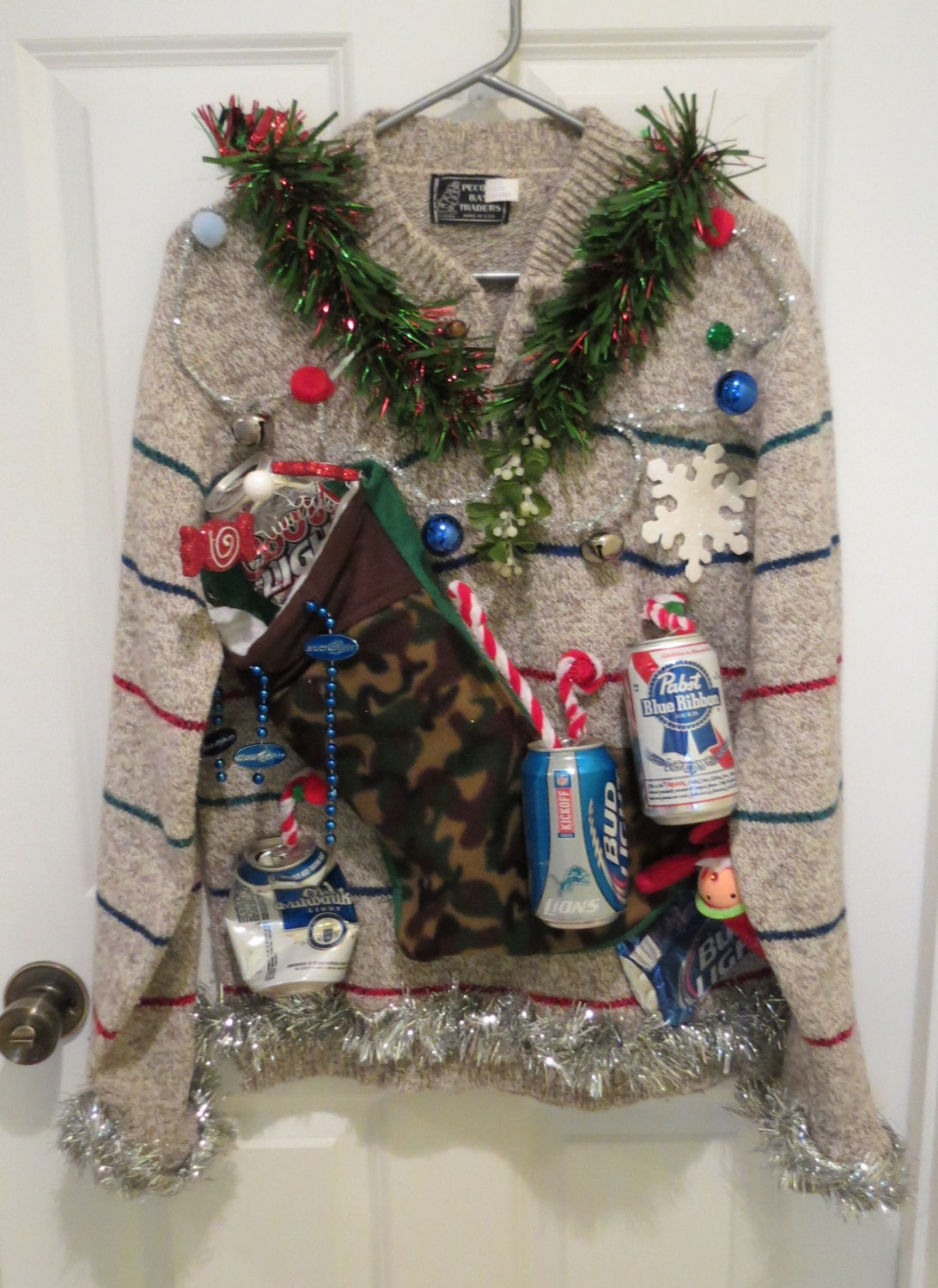 Beer can ornaments very tacky ugly christmas sweater mens womens sz l