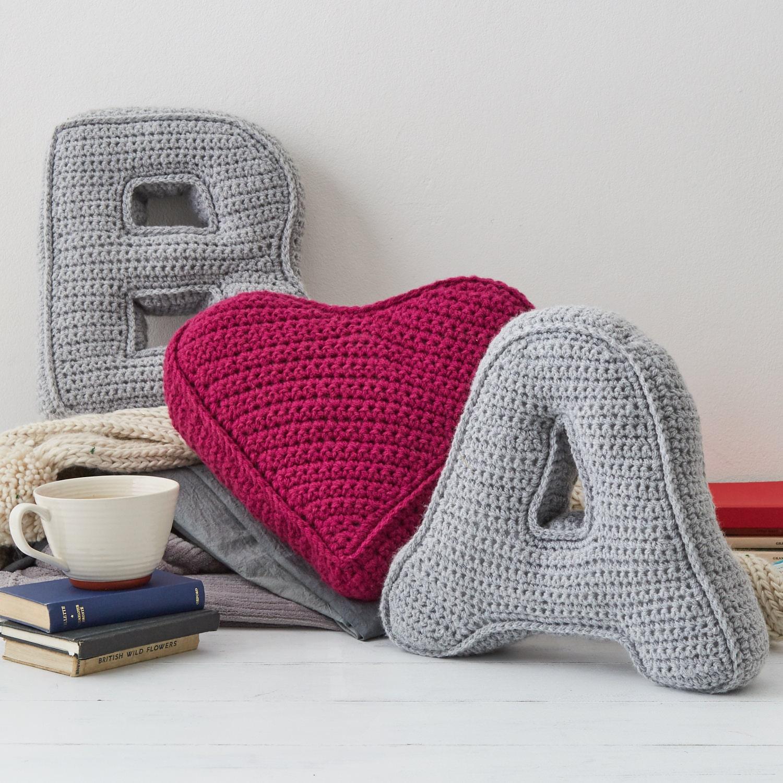 Letter and heart cushion set  Initial Pillow  3D cushion  Gift for her  Crochet Cushion  Alphabet Cushion  Knitted Cushion