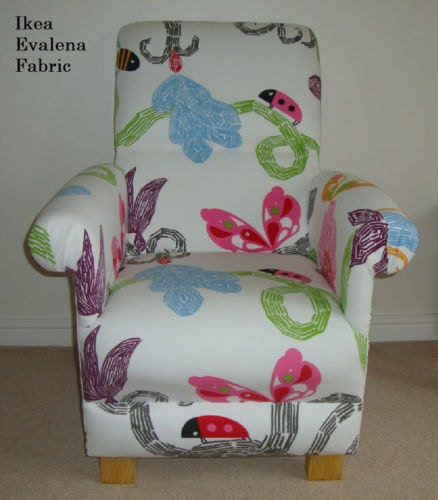 Ikea Evalena Fabric Childs Chair Nursery Bedroom Ladybird Butterfly Reading New White Pink Blue Bespoke Handcrafted British Kids