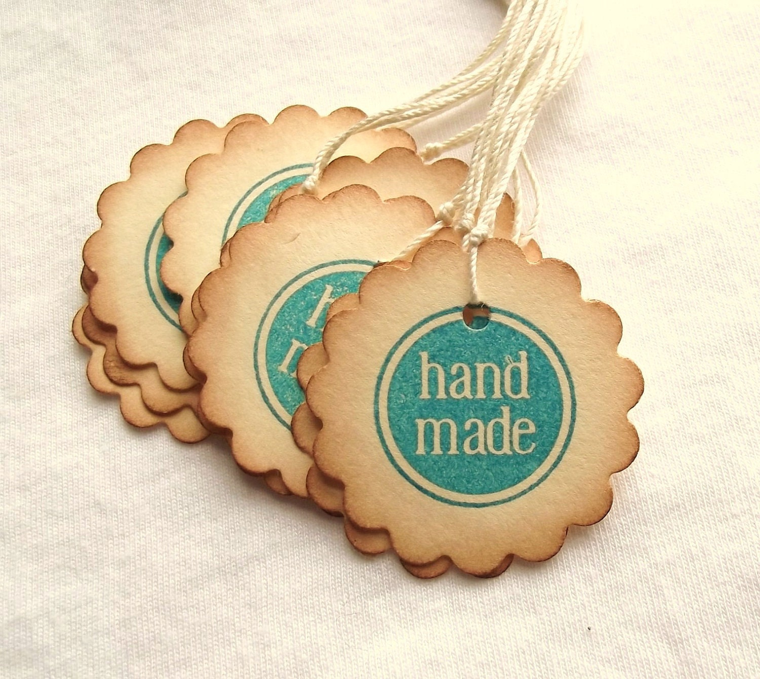 Handmade hang tags circle tags scalloped by for Custom tags for crafts