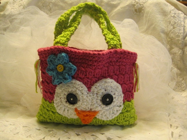Crochet Bag For Kids : Crocheted Owly Hand Bag for Children