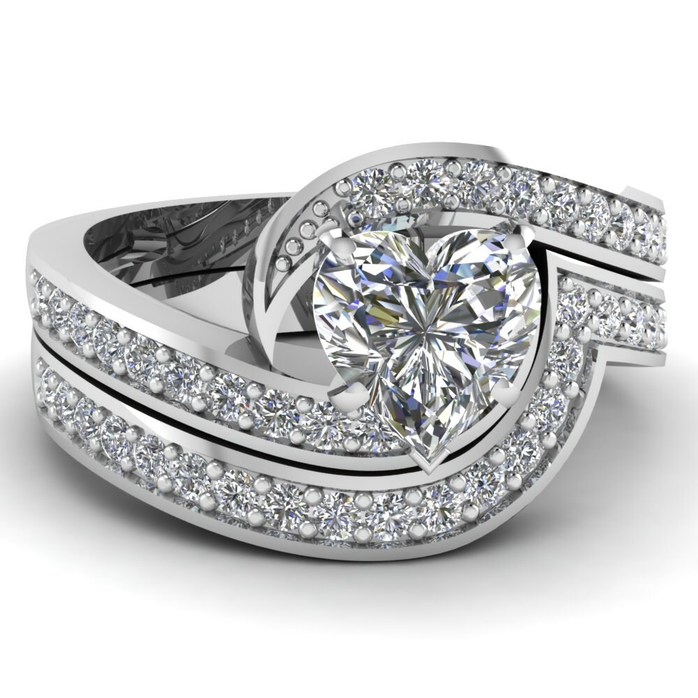 heart shape diamond engagement wedding ring set by blueriver47