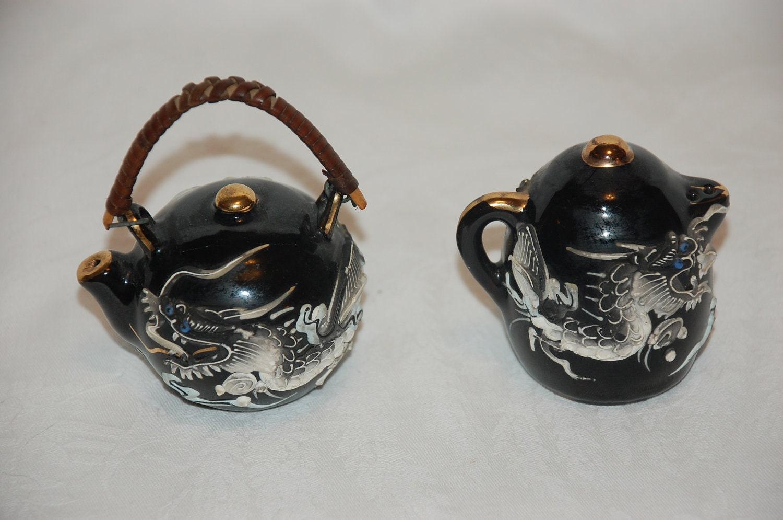 Vintage Dragonware Salt And Pepper Shaker Set By Vintagetwice