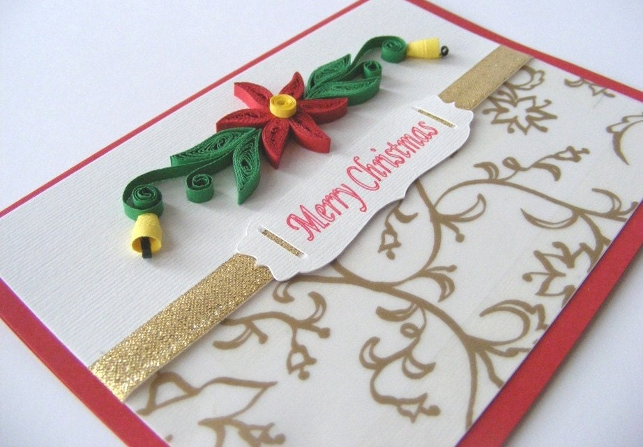 Quilling Christmas Card - quilling poinsettia, quilling bells, golden ribbon - RollingIdeas