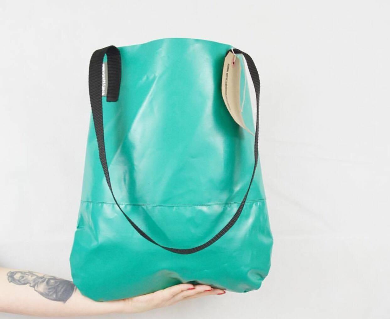 Handmade in UK Turquoise Green Upcycled  Bouncy Castle Vinyl PVC Tote Shopper Bag