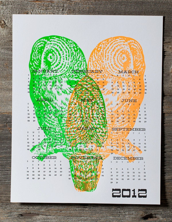 Letterpress Neon Owl Calendar green & orange - WishboneLetterpress