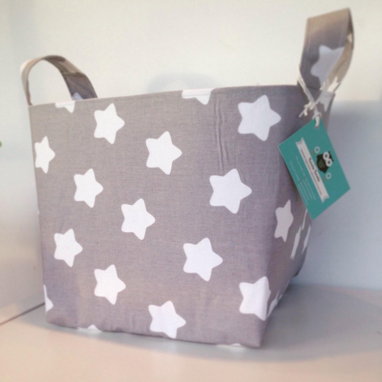 Big Stars Fabric Basket  Grey  Nappy Basket Diaper Caddy Nursery Storage Playroom Toy Storage Nursery Decor