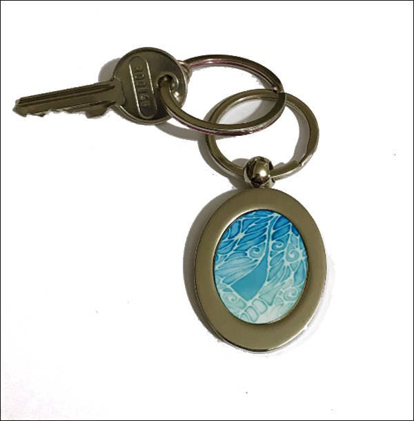 Dragonfly Key Holder in Blue  Turquoise  Key Ring Handbag Accessory  Dragonflies Key Chain  Damselfly Gift for Her  Odonate Key Fob