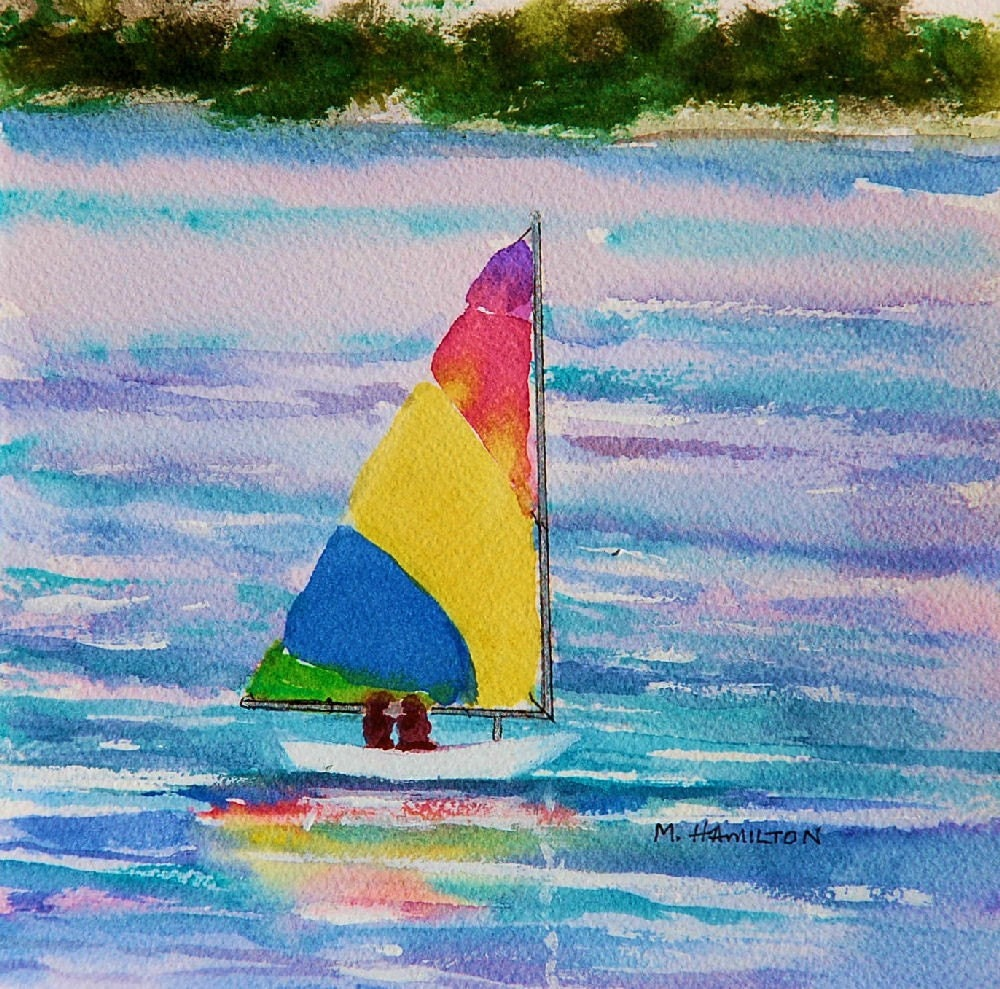 Sailboat Art Sailing Art 7 X 7 Multi Colored Sail Boat By